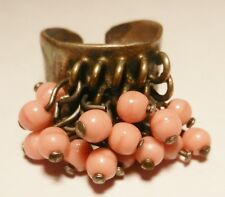 Handmade Bronze Ring~Greece~w/Dangling Glass Beads-1960's-1 Size-1 Owner