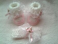 ❤ hand knitted baby girls molly dolly chaussons/bootees et bandeau 0-3 mois ❤