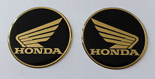 Gold Honda Wings stickers/decals-25mm chrome/black-HIGH GLOSS DOMED GEL FINISH