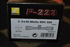 Nikon P-223 3-9x40mm Matte Black Rifle Scope BDC 600 Reticle NIB #8497