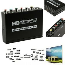HD 1080P Composite S-Video YPBPR RCA R/L Audio to HDMI Converter HDTV AV Adapter
