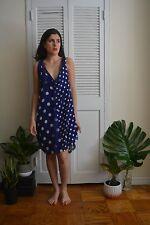 NEW Junya Watanabe Comme des Garcons Blue & White Polka Dot Dress w/ Lace Sz M