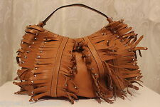 Karen Millen Large Studded Fringe Leather Tote Tan Shoulder Bag £235