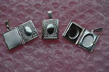 "UK Jewellery Silver Book Picture Photo Locket Pendant + 16"" Snake Necklace Chain"