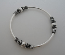 925 Sterling Silver Polished Bali, Balinese BANGLE Bracelet 65 mm & 3 mm Thick