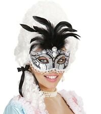 Black Silver Venetian Eye Mask With Feathers Masked Masquerade Ball Fancy Dress