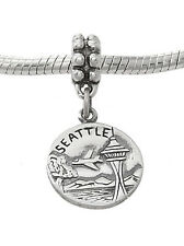 STERLING SILVER DANGLE SEATTLE CITY OF GOOD WILL EUROPEAN  BEAD