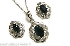 Sterling Silver Sapphire Celtic Pendant and Earring Set Gift Boxed Made in UK