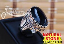 Men's Ring TURKISH 925 STELING SILVER GREAT AUTHENTHIC BLACK AGATE AQEEQ NEW 1