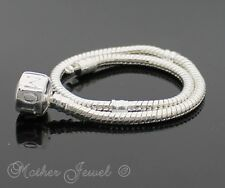 ☆ 19CM STERLING SILVER SP EUROPEAN BEAD MOTHER INSCRIBED CLASP BRACELET ☆