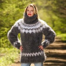 SUPERTANYA GREY Hand Knitted Mohair Sweater Icelandic Fuzzy Nordic Pullover