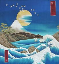 Japanese Cotton Fabric Kona Bay Panel Birds Mt Fuji Gold Moon and Waves Aqua