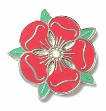 Red Tudor Rose Enamel Lapel Pin Badge (T295)