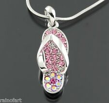 Flip Flop Sandal Pendant Necklace With SWAROVSKI CRYSTAL Pink Dainty Jewelry