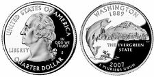 2 Coins = 2007 S Washington Silver Proof Quarters Cameo Salmon Fish g1