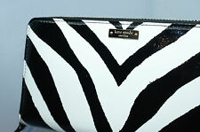 Kate Spade Lacey Fanfare Zebra Wallet Clutch Black White Leather Bag NWT