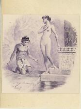 ANTIQUE VIGNETTE ART PRINT OF EGYPTIAN MAN ARTISTIC NUDE WOMAN ON 1803 PAPER