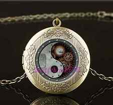 Vintage Steampunk Ying Yang Photo Glass Brass Chain Locket Pendant Necklace#A41