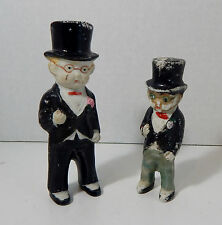 "ANTIQUE? JAPAN CERAMIC ""FROZEN CHARLIE"" GROOM IN TOP HAT + MYSTERY ""MINI ME"""