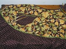 Handmade Brown Yellow & Green Aspen Leaves Polka Dot Cotton Full-Size Apron
