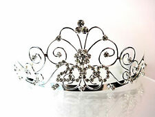 ELEGANT SILVER DIAMANTE TIARA BRAND NEW YEAR 2000 IDEAL BIRTHDAY GIFT PARTY(A9)