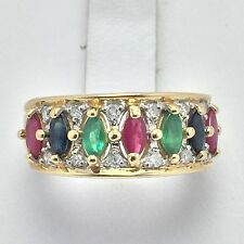 14K YELLOW GOLD RUBY EMERALD SAPPHIRE AND DIAMOND RING  SIZE 8