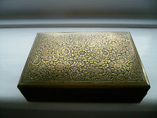 vintage  Persian design KINCO etched wood &  brass 1930s cigarette box