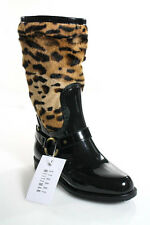 Stuart Weitzman Black Beige Patent Leather Wildcat Bovine Hair Boots Sz 6.5 NEW