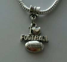 I Heart Football Sports Love Dangle Bead For Silver European Charm Bracelet