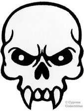 MEAN SKULL embroidered MOTORCYCLE BIKER IRON-ON PATCH POISON FANGS VAMPIRE HEAD