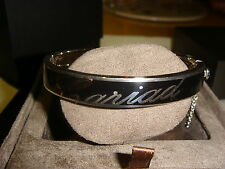 Clogau Silver Bangle Wrist Black Enamel Rose Welsh Gold Cariad lettering 3SCBB1