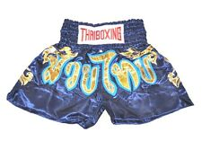 MUAY THAI SHORTS PANTS KIDS KICK THAI BOXING MMA FIGHTER  SIZE:S NAVY & GOLD