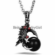 Gothic Men's Biker Stainless Steel Black Dragon Claw Pendant Chain Necklace 22""