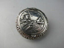 Vintage Hallmarked Dutch Repousse Silver Snuff Box Schoonhoven Windmill