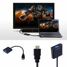 HDMI To VGA Converter Adapter With Audio Cable For Laptop PC DVD TV JS@