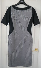 M&S PER UNA PIED DE POULE Print Shift Dress, SZ 14, Nero Mix, Nuovo con etichetta, ERA £ 55