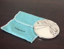 Vintage Tiffany & Co. Hand Held Purse Mirror Featuring Raised Bow