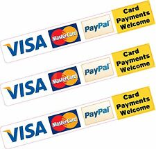 3x Paypal Visa Mastercard Credit Card Payment Sticker Printed Vinyl Shop Taxi