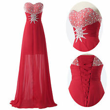 Long Red Prom Bridesmaid Wedding Ball Gown Evening Formal Party Chiffon Dresses
