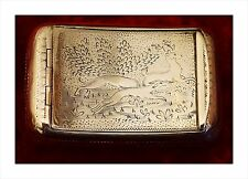 Rare 1811 George III Sterling Silver Snuff Box. Stag Hunting Scene With Hounds.
