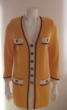 ST.JOHN KNIT YELLOW BLACK WHITE BUTTON DOWN CARDIGAN JACKET 4