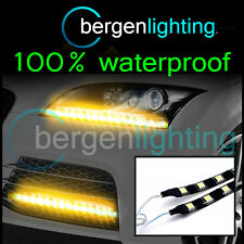 2X 375MM YELLOW EXTERIOR HEADLAMP/BUMPER 12V SMD5050 DRL MOOD LIGHTING STRIPS