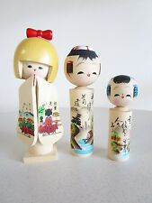 Vintage Kokeshi Japanese Wooden Doll Family Set of 3 Mom Dad Girl Kyoto Tower