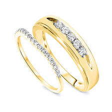 3/8 Carat T.W. Round Cut D/VVS1 His and Hers Wedding Band Set 10K Yellow Gold