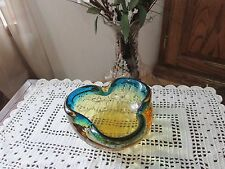 Vintage Murano Art Glass Brown and Cobalt Blue Hand Blown Ashtray Made In Italy