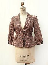 Ett Twa Anthropologie Pink Floral Print Cotton Puff Sleeve Blazer Jacket Sz 2