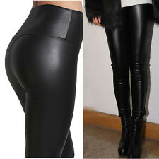 Lady Women's  High Waisted Sexy Faux Leather Stretch Skinny Pants Slim Leggings