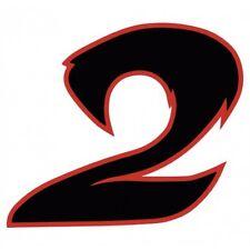 Chiffre 2 deux - autocollant sticker noir/rouge voiture moto 8 cm