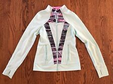 IVIVVA Perfect your PRACTICE mint light green / blue  Zip Jacket Size 14 EUC