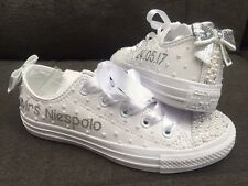 Customised Wedding Bride Leather Mono Converse  Bling Pearl Size 3-9